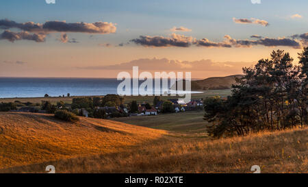 Peninsula Mönchgut in sunset light, Island of Rügen, Germany | Halbinsel Mönchgut im Licht des Sonnenuntergangs, Insel Rügen - Stock Photo