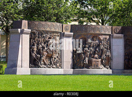 Two cast bronze bas-reliefs depicting scenes from the life of Grand Duke Vladimir - an element of the monument in Moscow - Stock Photo