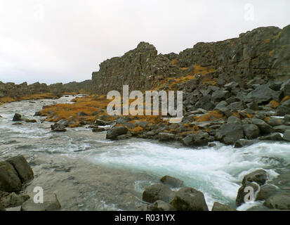 Oxara River in Thingvellir National Park, Golden Circle, Southern Region of Iceland - Stock Photo