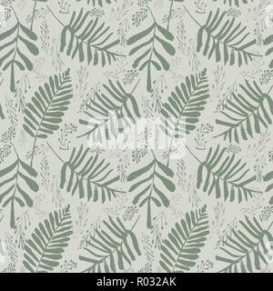 Sophisticated vector green tropical leaves seamless pattern on light green background. Summery, festive and fun.