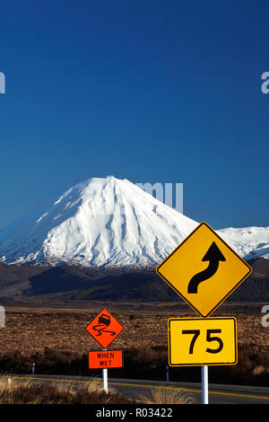 Road signs on Desert Road and Mt Ngauruhoe, Tongariro National Park, Central Plateau, North Island, New Zealand - Stock Photo