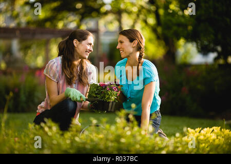 Two women smile and talk as they sit and kneel on the ground ready to plant flowers. - Stock Photo