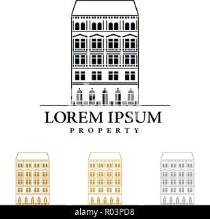 Property or real estate company vector logo template with imperial style house - Stock Photo