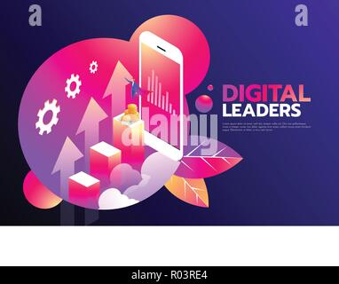 isometric businessman with cape flying on top of the graph and smartphone, digital online and business concept. Digital Leader. - Stock Photo