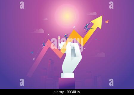 Business team running on drawn data graph. Vector illustration business concept, Graph and chart, Cartoon character - Stock Photo