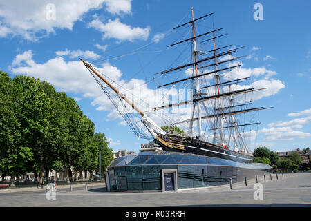 The Cutty Sark, historic  British clipper ship, in permanent dry dock at Greenwich, London, England, UK - Stock Photo