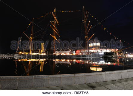 RRS Discovery and Discovery Point by night Dundee Scotland October 2018 - Stock Photo