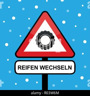 winter car tire in a triangle road sign with change tires typography vector illustration - Stock Photo