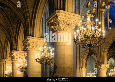 Paris, France. February 10, 2018. Detail of the Notre Dame Cathedral - Stock Photo