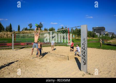 Essen, Ruhrgebiet, Germany, Krupp-Park, beach volleyball, urban development project Krupp-Guertel - Stock Photo