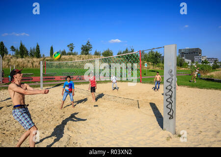 Essen, Ruhrgebiet, Germany, Krupp-Park, beach volleyball, urban development project Krupp-Guertel - Stock Photo