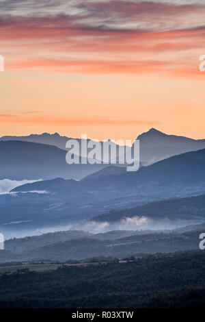 Sunrise over Vallee de l'Asse from the Plateau de Valensole, Provence, France - Stock Photo