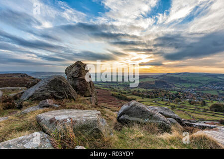 beautiful landscape photograph of a sunset at Curbar Edge, Peak District National Park, Derbyshire, England October 2018 - Stock Photo
