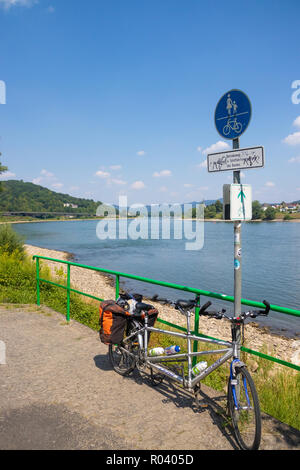 The Eurovelo 15 Cycle way along the river Rhine near Bonn Germany. - Stock Photo