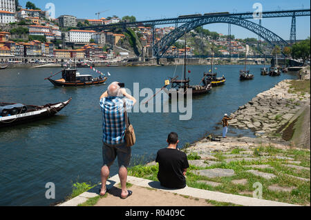 Porto, Portugal, On the banks of the Duero River - Stock Photo