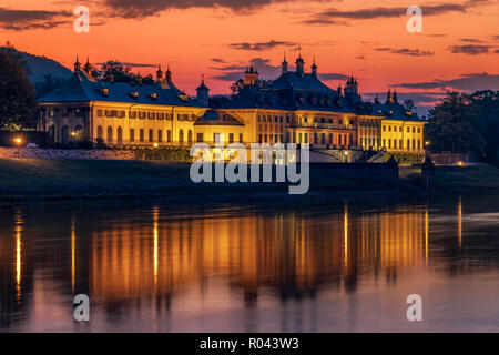 Schloss Pillnitz at dawn. - Stock Photo