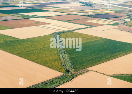 View from airplane window on circled field, Ukraine. Summer 2017. - Stock Photo