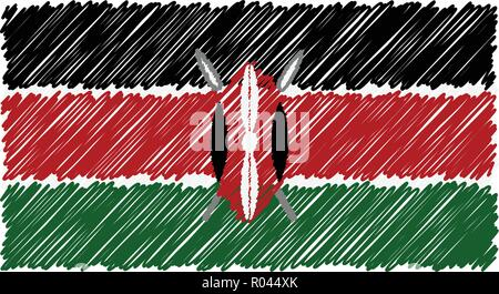 Hand Drawn National Flag Of Kenya Isolated On A White Background. Vector Sketch Style Illustration. - Stock Photo