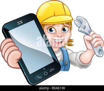 Mechanic Plumber Handyman Phone Concept - Stock Photo