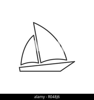 Single sailboat icon Isolated on white background. Sailing ship sign, logo, pictogram for mobile app and web design. Simple linear style vector. - Stock Photo
