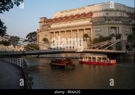 Singapore, Republic of Singapore, The Fullerton Hotel - Stock Photo