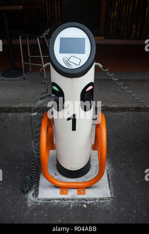 Singapore, Republic of Singapore, charging station for electric vehicles - Stock Photo