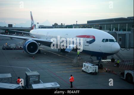 Singapore, Republic of Singapore, British Airways at Terminal 1 of Changi Airport - Stock Photo