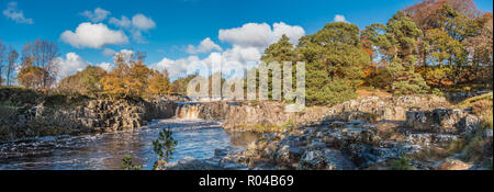 North Pennines AONB Landscape, panoramic view of Low Force Waterfall, Teesdale with autumn colours and bright sunshine - Stock Photo