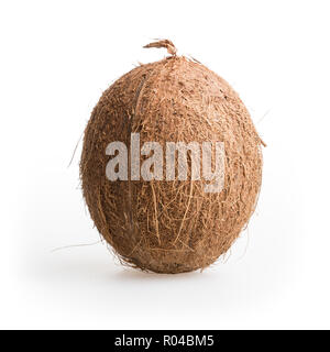 whole hairy coconut, close up, isolated on a white background - Stock Photo