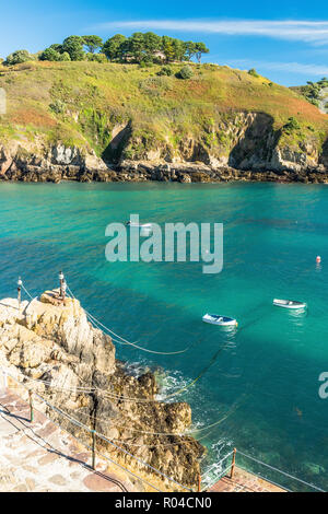 Saints Bay harbour in Guernsey, Channel Island - Stock Photo