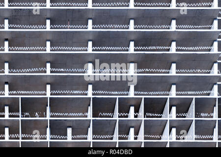 Facade of reinforced concrete building under construction, abstract background, industrial pattern, affordable housing. - Stock Photo