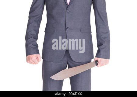Office maniac with machete isolated on white background - Stock Photo