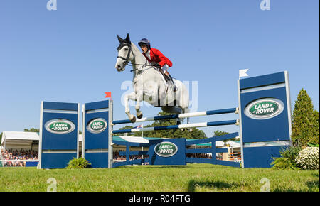 Harry Meade and AWAY CRUISING during the showjumping  phase of the Land Rover Burghley Horse Trials, 2nd September 2018. - Stock Photo