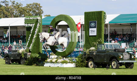 Mark Todd and KILTUBRID RHAPSODY during the cross country phase of the Land Rover Burghley Horse Trials 2018 - Stock Photo