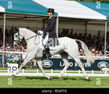 Mark Todd and KILTUBRID RHAPSODY during the dressage phase of the Land Rover Burghley Horse Trials, 2018 - Stock Photo