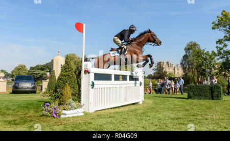 Mark Todd and NZB CAMPINO during the cross country phase of the Land Rover Burghley Horse Trials 2018 - Stock Photo