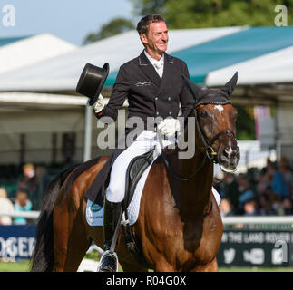 Mark Todd and NZB CAMPINO during the dressage phase of the Land Rover Burghley Horse Trials, 2018 - Stock Photo