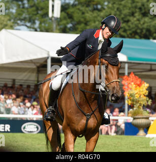 Sarah Bullimore and REVE DU ROUET during the showjumping  phase of the Land Rover Burghley Horse Trials, 2nd September 2018. - Stock Photo