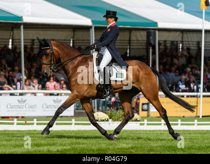Sarah Bullimore and REVE DU ROUET during the dressage phase of the Land Rover Burghley Horse Trials, 2018 - Stock Photo