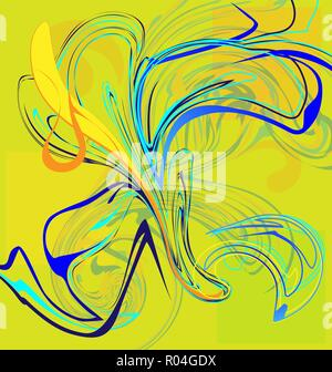 yellow and abstract flower of blue iris - Stock Photo