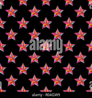 Watercolor hand painted stars seamless pattern. Abstract geometrical texture for surface designs, textiles, wrapping paper, wallpapers, phone case pri - Stock Photo