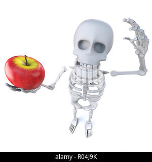 3d render of a funny cartoon skeleton holding an apple - Stock Photo
