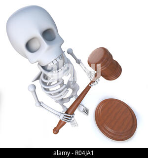 3d render of a funny cartoon skeleton holding an auction - Stock Photo