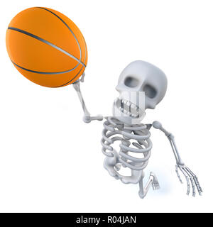 3d render of a funny cartoon skeleton shoots a basketball - Stock Photo