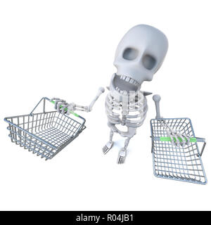 3d render of a funny cartoon skeleton carrying shopping baskets - Stock Photo