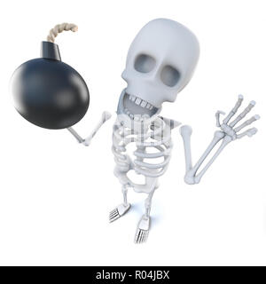 3d render of a funny cartoon skeleton holding an explosive bomb - Stock Photo