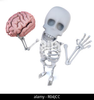 3d render of a funny cartoon skeleton character holding a human brain - Stock Photo