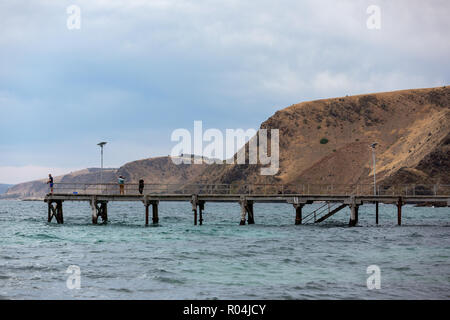 People fishing on the iconic Second Valley jetty on an overcast day on the Fleurieu Peninsula South Australia on 1st November 2018 - Stock Photo