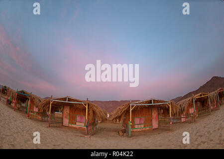 Bedouin Camp in Nuweiba - Taba Road. South Sinai. Egypt - Stock Photo