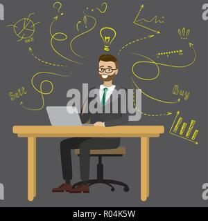 Businessman or office worker sitting at the computer,finance idea concept with doodle signs,cartoon vector illustration - Stock Photo